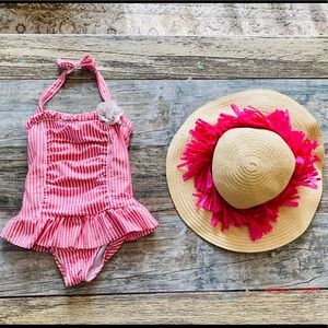 Janie & Jack 3T Swimsuit I'm GUC. Sun Hat Included